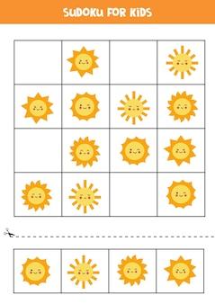 Sudoku für kinder im vorschulalter. logisches spiel mit niedlichen kawaii sonnen.