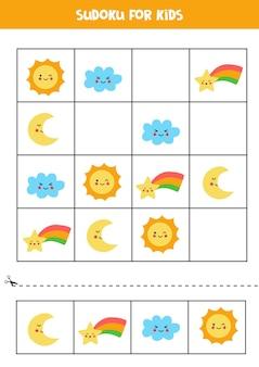 Sudoku für kinder im vorschulalter. logisches spiel mit niedlichen wetterelementen.
