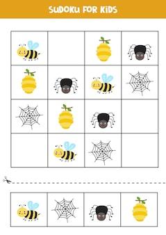 Sudoku für kinder im vorschulalter. logisches spiel mit niedlicher biene und spinne.