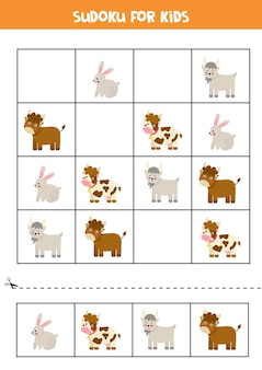 Sudoku für kinder im vorschulalter. logisches spiel mit nutztieren.