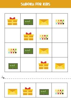 Sudoku für kinder im vorschulalter. logisches spiel mit rechteckigen objekten.