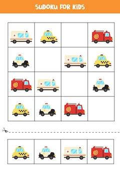 Sudoku für kinder im vorschulalter. logisches spiel mit transport.