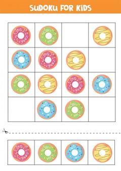 Sudoku für kinder mit comic-donuts. logikspiel für kinder im vorschulalter.