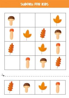 Sudoku für kinder mit herbstpilzen und blättern.
