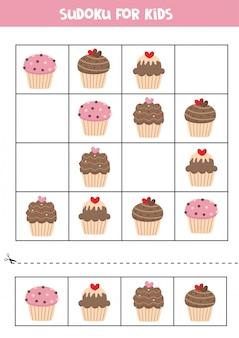 Sudoku für kinder mit niedlichen cartoon-cupcakes.