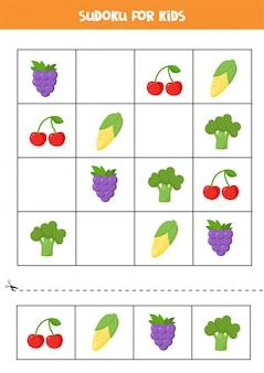 Sudoku für kinder mit niedlichen cartoonfrüchten und -gemüse. logisches puzzle für kinder. denksport für kinder im vorschulalter. druckbares arbeitsblatt.