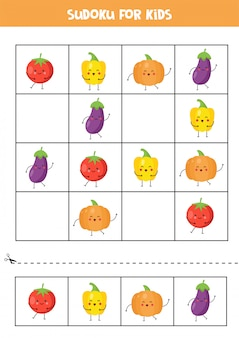 Sudoku für kinder mit süßem kawaii-gemüse.