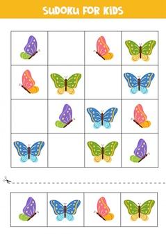 Sudoku für kinder. niedliche fliegende bunte schmetterlinge.