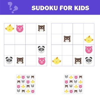 Sudoku für kinder. spiel für kinder im vorschulalter, trainingslogik. puzzle-spiel für kinder und kleinkinder. schulung zum logischen denken. tiere