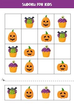 Sudoku logisches spiel mit halloween cupcakes und kürbissen.