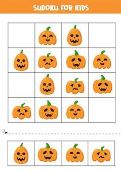 Sudoku logisches spiel mit niedlichen halloween-kürbissen.