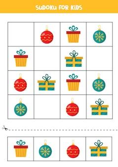 Sudoku mit bunten weihnachtskugeln und geschenkboxen