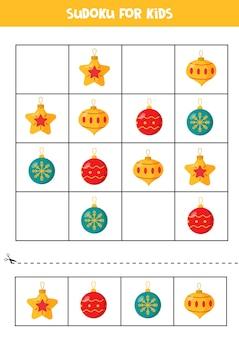 Sudoku mit bunten weihnachtskugeln