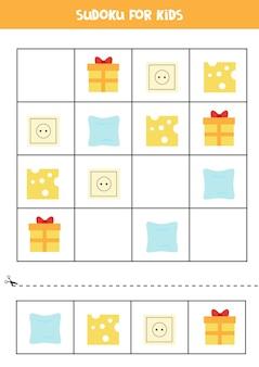 Sudoku mit für vorschulkinder. logisches spiel mit quadratischen objekten.