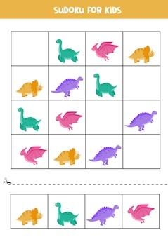 Sudoku puzzlespiel für kinder. arbeitsblatt mit niedlichen bunten dinosauriern.