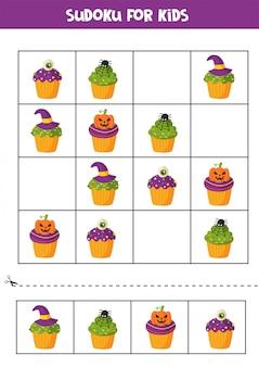 Sudoku-puzzlespiel mit gruseligen halloween-cupcakes.