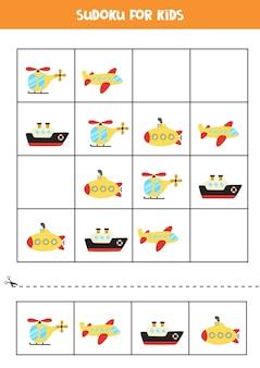Sudoku-spiel für kinder im vorschulalter. logisches spiel mit transport.