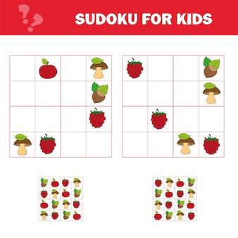 Sudoku-spiel für kinder mit bildern. aktivitätsblatt für kinder. cartoon-stil. puzzle-spiel für kinder und kleinkinder. schulung zum logischen denken.