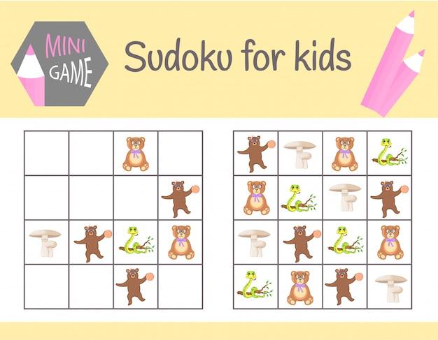 Sudoku-spiel für kinder mit bildern und tieren. kinder bettwäsche. lernlogik, lernspiel