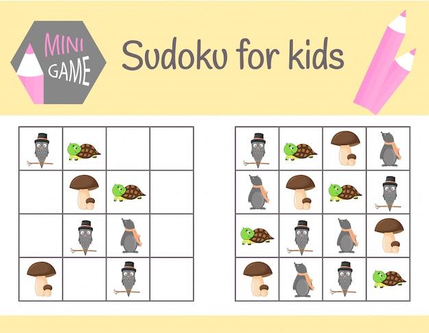 Sudoku-spiel für kinder mit bildern und tieren. lernlogik, lernspiel
