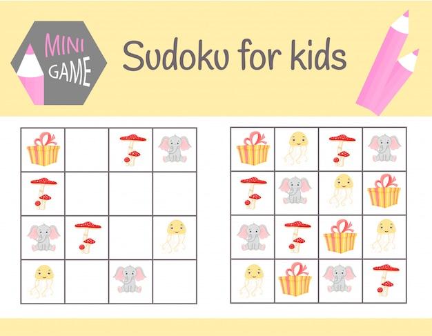 Sudoku-spiel für kinder mit bildern und tieren.