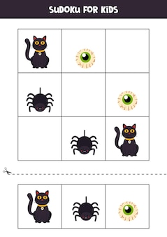 Sudoku-spiel für kinder mit halloween-bildern.