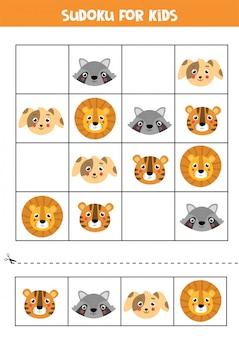 Sudoku-spiel für kinder. süße gesichter von tieren.