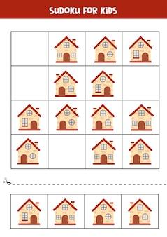 Sudoku-spiel mit comic-häusern. logisches arbeitsblatt für kinder.