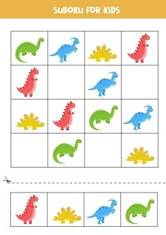 Sudoku-spiel mit satz niedlicher cartoon-dinosaurier. lernpuzzle für kinder.
