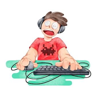 Süchtiger junge, der videospiele spielt