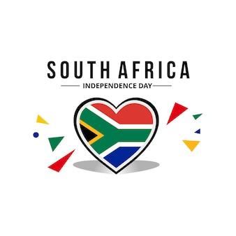 Südafrika-flagge mit originalfarbe in herzverzierung