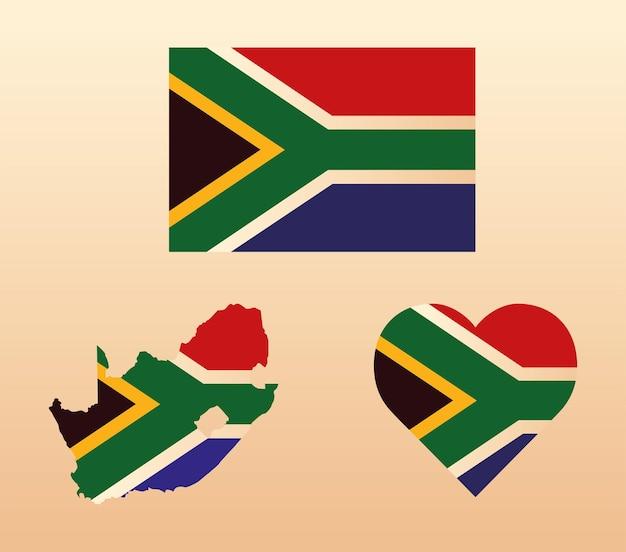 Südafrika-flaggensatz