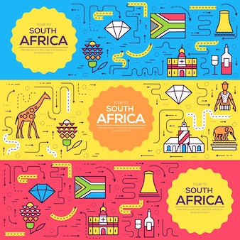 Südafrika vektorbroschüre karten dünne linie gesetzt