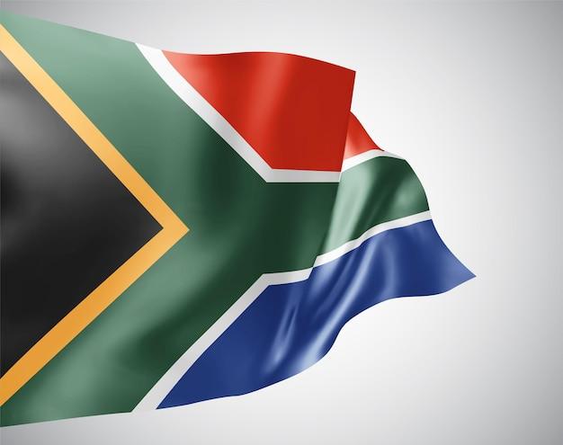 Südafrika, vektorflagge mit wellen und kurven im wind auf weißem hintergrund.