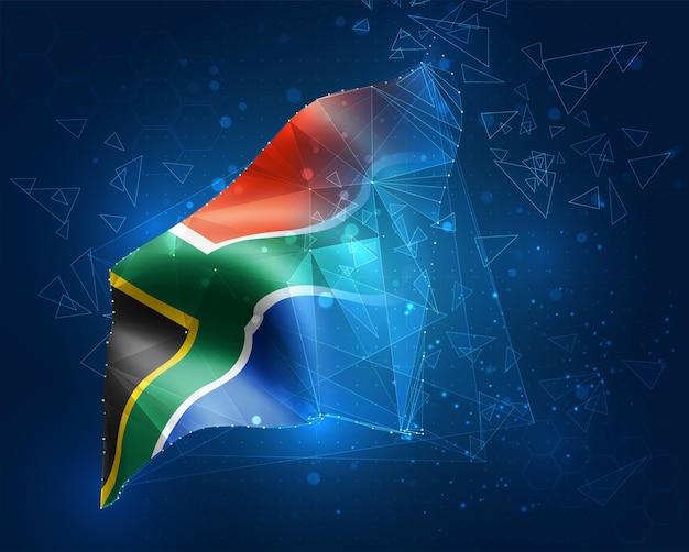 Südafrika, vektorflagge, virtuelles abstraktes 3d-objekt aus dreieckigen polygonen auf blauem hintergrund