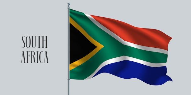 Südafrika weht flagge auf fahnenmast.