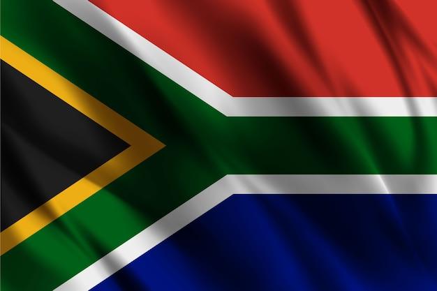 Südafrikanische nationalflagge, die seidenhintergrund schwenkt