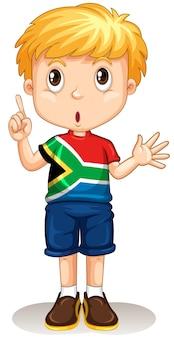 Südafrikanischer junge, der seinen finger zeigt