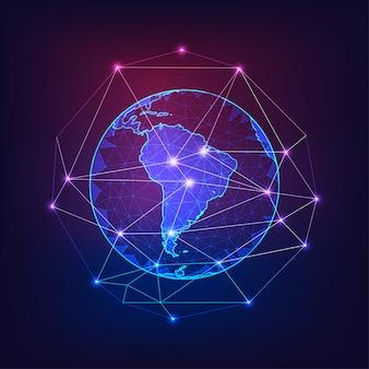 Südamerika auf dem planeten erde blick aus dem weltraum mit kontinenten konturen