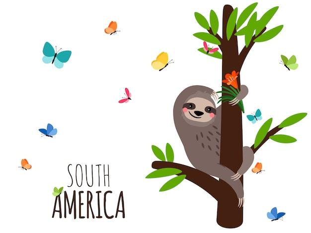 Südamerika-banner mit faultier, blumen und schmetterlingen