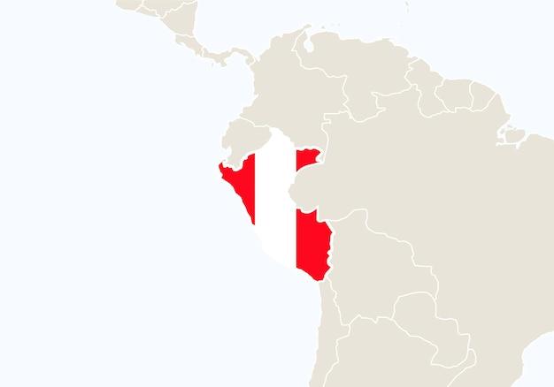 Südamerika mit hervorgehobener peru-karte. vektor-illustration.
