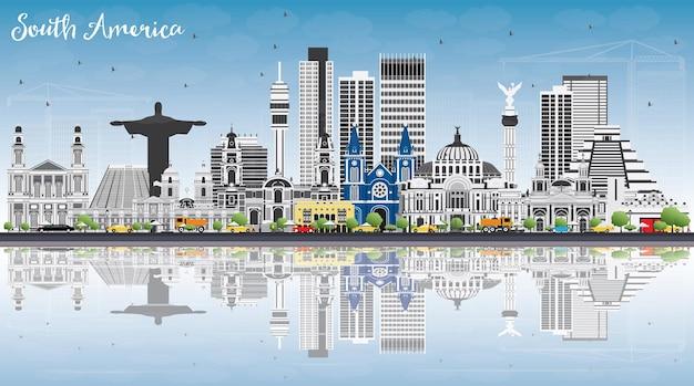 Südamerika-skyline mit berühmten sehenswürdigkeiten und reflexionen. vektor-illustration. geschäftsreise- und tourismuskonzept. bild für präsentation, banner, plakat und website.