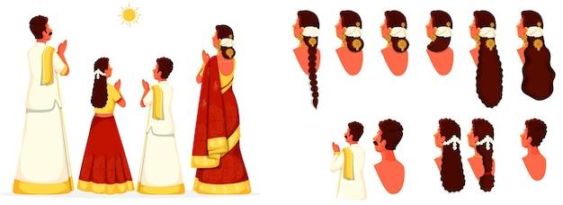 Südindische familie mit unterschiedlichem gesichtsausdruck