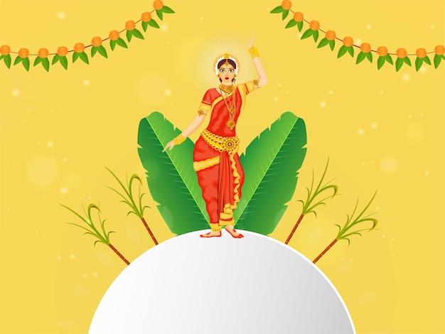 Südindische frau, die klassischen bharatnatyam-tanz durchführt