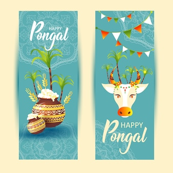 Südindischer festival pongal hintergrund template designpongal festival background.