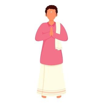 Südindischer mann der karikatur, der namaste in der stehenden pose tut.