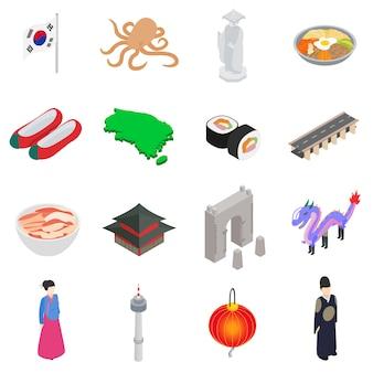 Südkorea-ikonen stellten in die isometrische art 3d ein, die auf weißem hintergrund lokalisiert wurde