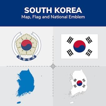 Südkorea karte, flagge und national emblem