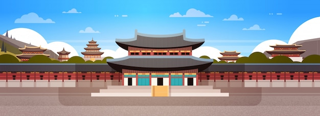 Südkorea-markstein-berühmter palast-traditionelle koreanische tempel-landschaft
