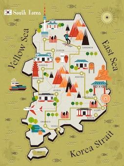 Südkorea-reisekarte in flach - bulguksa-wort auf chinesisch auf dem tempel